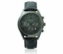 266 C489 Herren Armbanduhr, Leder, Grau