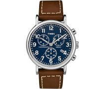 Erwachsene Chronograph Quarz Uhr mit Leder Armband TW2R42600