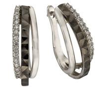 Celesta Silber Creolen 925 Sterling Silber rhodiniert Zirkonia weiß Rundschliff 471210009