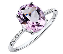 Ring Weißgold 9 Karat / 375 Gold Roser Amethyst mit Diamant Brillianten