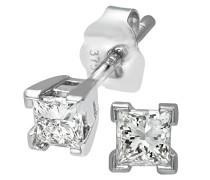 Ohrstecker 9 Karat Solitaire Ohrringe 375 Weißgold rhodiniert Diamant 0