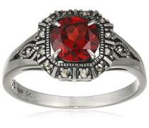 Ring 925 Silber vintage-oxidized Granat rot Markasit 54 (17.2) - L0028R/90/M2/54