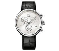Armbanduhr XL substantial Chronograph Quarz Leder K2N281C6