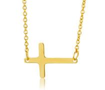 Halsband 9 Karat 375 Gelbgold Anhänger Kreuz 42cm