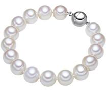 Armband 925 Silber rhodiniert Perle hochwertige Süßwasser-Zuchtperle Weiß in verschiedenen Länge - Perlenarmband mit echten Perlen weiss und Magnet-Verschluss 609210251
