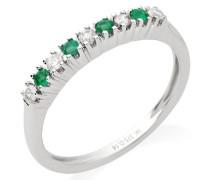 Memoire Ring 375 Weißgold mit 5 Brillanten und 4 Smaragd Kombiniert