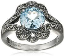 Ring 925 Silber vintage-oxidized Topas blau Markasit 58 (18.5) - L0041R/90/W4/58