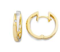 Creolen 9 Karat (375) Gelb-/Weißgold 2 Brillanten MIN909E