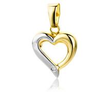 Anhänger mit Herz 18 Karat 750 Gold Diamant Brilliant Bicolor Gelbgold / Weißgold MAP41B