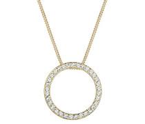 Halskette mit Anhänger Kreis Geo Glamour vergoldet silber 925 Gold Swarovski Kristalle
