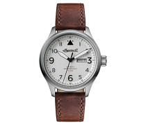 The Bateman Automatic Watch with Weiß Dial andBraun Leather Strap I01801