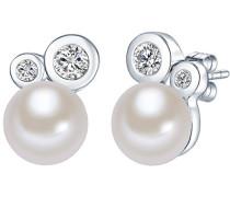 Ohrstecker Hochwertige Süßwasser-Zuchtperlen in ca. 8 mm Button weiß 925 Sterling Silber Zirkonia weiß - Perlenohrstecker mit echten Perlen weiss 60200011