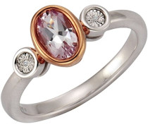 Ring 925 Sterling Silber rhodiniert Diamant 0.08 ct weiß Brillantschliff