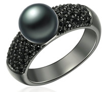 Ring 925 Silber rhodiniert Zirkonia Perle Süßwasser-Zuchtperle Schwarz