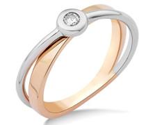 Ring 14 Karat (585) Bicolor rhodiniert Diamant weiß