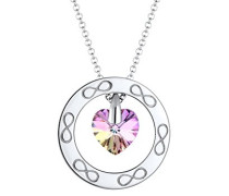 Premium Kette mit Anhänger Herz Infinity 925 Silber rhodiniert Swarovski Kristalle pink Facettenschliff 60 cm 0101412417_60