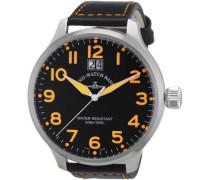 Herren-Armbanduhr XL Quarz Analog Leder 6221Q-a15