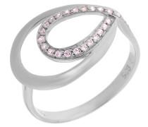 Ring 925 Silber rhodiniert Zirkonia Pink Brillantschliff