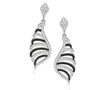 Ohrhänger 925 Sterling Silber rhodiniert Zirkonia schwarz-weiß ZO-5227