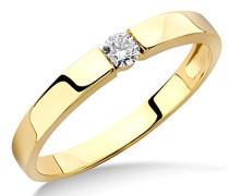 Ring Solitär Verlobungsring Gelbgold 9 Karat/375 Gold Diamant Brilliant 0.10 ct