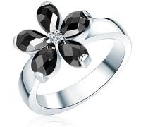 Ring 925 Silber rhodiniert Zirkonia Tropfenschliff schwarz