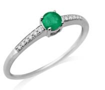 Ring 9 Karat (375) Weißgold Smaragd und Brillanten