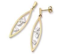 -Joven Ohrringe 18ct/750 Gelb-/Weißgold mit Herzen und 2 Brillanten zus.ca. 0