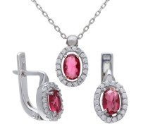 Halskette mit Anhänger 925 Sterling Silber Ohrringe Rubin und Zirkonia 46 cm SET1318 RU E