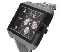 Leon Kingsize Collection Quarz Armbanduhr mit zwei Zeitzonen - Analoge Anzeige - Lederarmband Gehäuse aus Edelstahl Größe XL - OZG1102