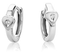 Ohrringe Kinder Mädchen Silberfarbig 925 Sterling Silber Creolen mit Herz