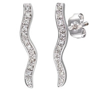 Ohrhänger 9 Karat 375 Swirl Tropfen Weißgold rhodiniert Diamant 0