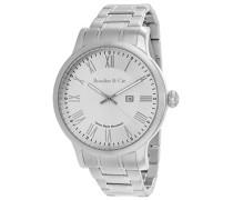 Quartz Armbanduhr von für Männer mit Original Schweizer Uhrwerk mit Weißem Zifferblatt Analoger Anzeige und Silberfarbenem Armband aus Edelstahl BSSM208B