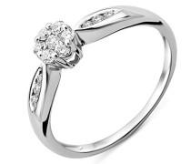 Ring Solitaire Gold 9 Karat Diamant 0,25 Karat, verstellbar, Dreiecke