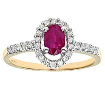 Damen-Ring 9 K Gelbgold P1 Diamant 0,24 ct Rubin