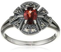Ring 925 Silber vintage-oxidized Granat rot Markasit 60 (19.1) - L0018R/90/M2/60