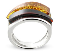 Ring Bague double jonc argent 925/00 et ambre Taille 52, Sterling-Silber 925, Bernstein, 52 (16.6)