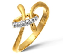 Damen-Ring 9 K Gelbgold Diamant 0,05 ct