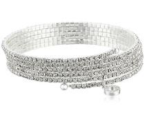 Silber Ton Multi Zeile Kristalle Flex Armband von 12 cm