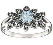 Ring 925 Silber vintage-oxidized Topas blau Markasit 58 (18.5) - L0072R/90/W4/58