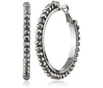 Damen-Creolen, rhodiniert Ohrringe Perlen-Imitat