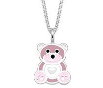 Kinder Echtschmuck Halskette Silberkette mit Anhänger Kids Mädchen Süß Teddybär Herz Pastel Emaille Sterling Silber 925 36 cm