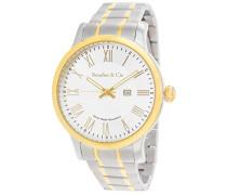 Quartz Armbanduhr von für Männer mit Original Schweizer Uhrwerk mit Weißem Zifferblatt Analoger Anzeige und Mehrfarbigem Armband aus Edelstahl Datumsanzeige BSSM209