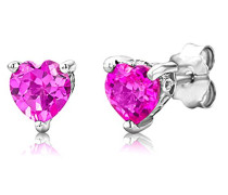 Ohrstecker 925 Sterling- Silber Herzschliff Pink/Rosa