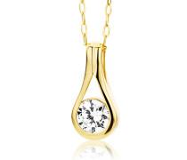 Kette - Halskette Gelbgold 9 Karat/375 Gold Kette mit Rundschliff Zirkonia Steinchen 45 cm