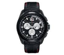 Quarzuhr 1621.9577 Schweizer Uhr mit schwarzem Zifferblatt Chronograph-Anzeige und schwarzes Lederband