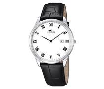 Quarz-Uhr mit weißem Zifferblatt Analog-Anzeige und schwarz Lederband 10124/3