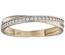Ring 375 Gelbgold Rundschliff 9 K weiß Oxyde de Zirconium