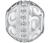Bead 925 Silber rhodiniert Zirkonia Rundschliff weiß - 60177017
