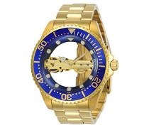 24695 Pro Diver Uhr Edelstahl mechanisch blauen Zifferblat