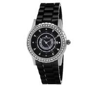 Armbanduhr Schwarz Analog Quarz Premium Keramik Diamanten - STM15Z2